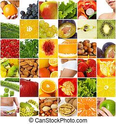 diéta, táplálás, kollázs