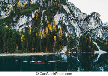 di, braies, lago, outono, lago, italia, paisagem