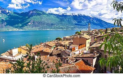 di, italie, -, garda., limone, pictorial, ville, lago, beau, petit
