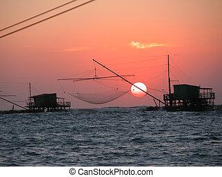 di, italy, 比萨, 日落, 2005, 小游艇船坞