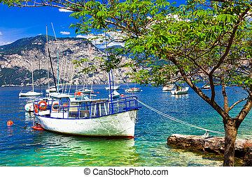 di, lac, bateaux, italie, paysage, garda., pictorial, lago, beau