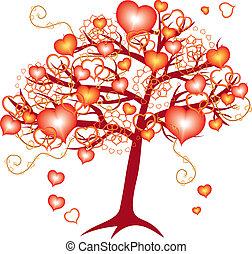 dia, amor, árvore, valentine, corações, vermelho