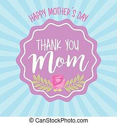 dia, cartão, mães