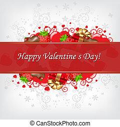 dia, cartão, valentines