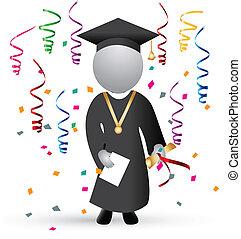 dia, celebração, graduação