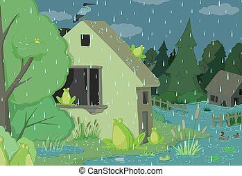 dia, chuvoso, caricatura, rãs
