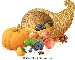 dia, colheita, ação graças, ricos, cornucópia