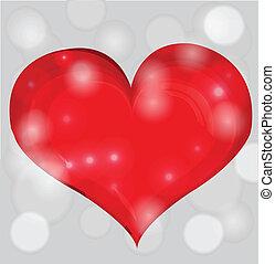 dia, coração, valentine, vetorial, experiência., vermelho, illustration.
