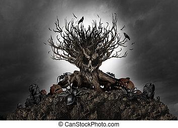 dia das bruxas, árvore, arrepiado, fundo