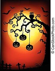 dia das bruxas, árvore, fundo, morto