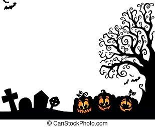 dia das bruxas, árvore, metade, silueta, tema, 3