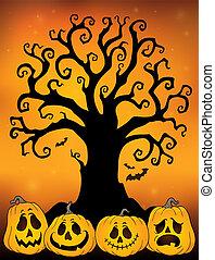 dia das bruxas, árvore, silueta, topic, 3
