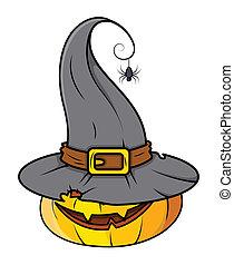 dia das bruxas, abóbora, com, chapéu bruxa