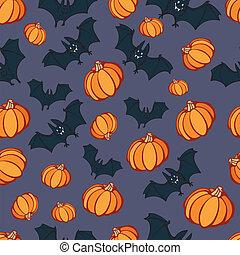 dia das bruxas, abóbora, morcego, partido, padrão