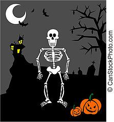 dia das bruxas, abóboras, e, skeleton., assustador, fundo
