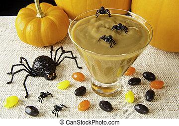 dia das bruxas, aranhas, e, butterscotch, pudim
