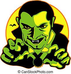 dia das bruxas, arte gráfica, vampiro, clip