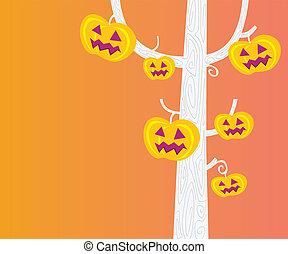 dia das bruxas, cabeça, -, árvore, abóbora