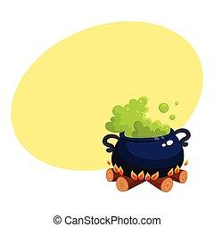 dia das bruxas, caldron, cauldron, com, ferver, verde, poção, ligado, fogo madeira
