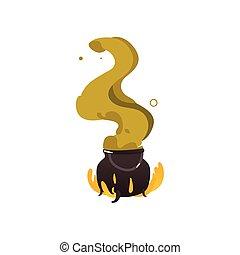 dia das bruxas, caldron, cauldron, fogo, verde, vapor