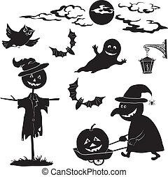 dia das bruxas, caricatura, jogo, pretas, silueta