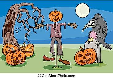 dia das bruxas, caricatura, spooky, caráteres, grupo