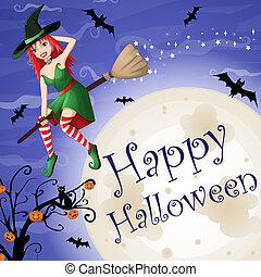 dia das bruxas, cartão, com, excitado, feiticeira