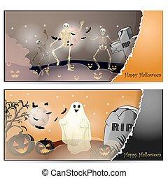 dia das bruxas, cartão, com, spooky, coisas