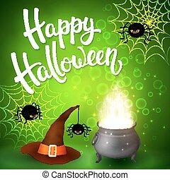 dia das bruxas, cartão cumprimento, com, feiticeira, cauldron, chapéu, zangado, aranhas, rede, e, escova, lettering, ligado, experiência verde, com, bubbles., decoração, para, cartaz, bandeira, voador, design., vetorial, illustration.