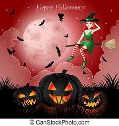 dia das bruxas, cartão cumprimento, com, feiticeira