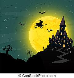 dia das bruxas, castelo, e, feiticeira, frente, um, lua cheia