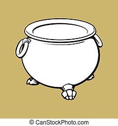 dia das bruxas, cauldron, com, ferver, poção, dentro, isolado, vetorial, ilustração