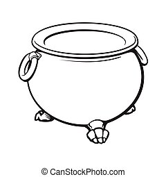 dia das bruxas, cauldron, com, ferver, verde, poção, dentro, isolado, vetorial, ilustração