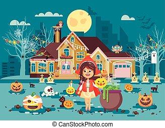 dia das bruxas, cauldron, traje, menina, capuz, partido,...