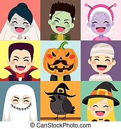 dia das bruxas, crianças, avatar