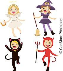 dia das bruxas, crianças, trajes
