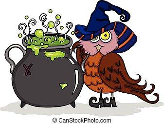 dia das bruxas, cute, coruja, com, feiticeira, caldron