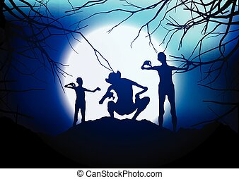 dia das bruxas, demônios, contra, um, moonlit, céu, 3107