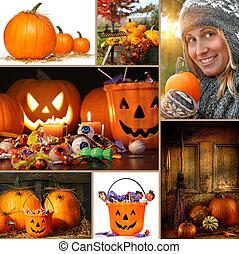 dia das bruxas, e, outono, colagem
