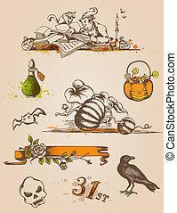 dia das bruxas, elementos, desenho