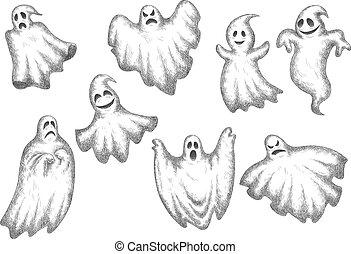 dia das bruxas, engraçado, caricatura, fantasmas, jogo