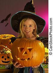 dia das bruxas, esculpido, prendendo criança, partido, abóbora
