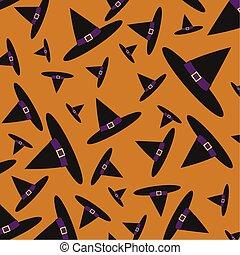 dia das bruxas, escuro, feiticeira, fundo, laranja, chapéu