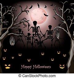 dia das bruxas, esqueleto, cartaz, desenho