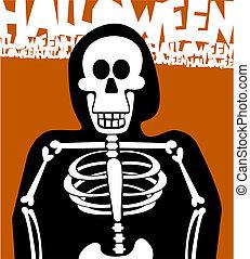 dia das bruxas, esqueleto, experiência., cartão cumprimento