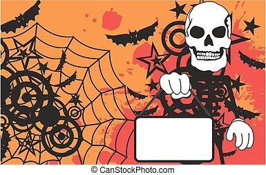 dia das bruxas, esqueleto, fundo, caricatura