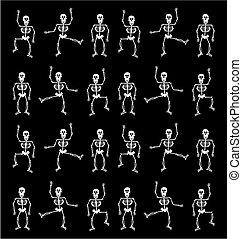 dia das bruxas, esqueleto, pattern., experiência preta