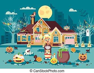 dia das bruxas, fantasia, traje, menina, esqueletos, estilo,...