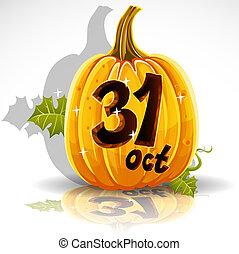 dia das bruxas, feliz, 31, outubro, abóbora