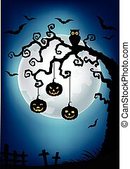 dia das bruxas, fundo, com, árvore morta